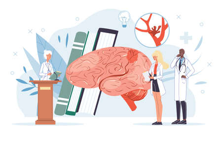 Cartoon flat doctor characters at work,physicians with medical devices in uniform lab coats study brain-human anatomy internal organ disease medical treatment and therapy concept