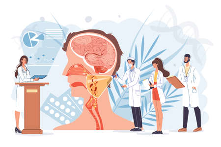 Cartoon flat doctor characters at work,physicians with medical devices in uniform lab coats study respiratory system-human anatomy internal organ disease medical treatment and therapy concept