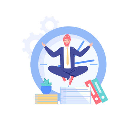 Vector cartoon flat office worker character and big clock. Successful employee meditating, controls everything, does all works in time-professional workflow, time management, web site banner concept.