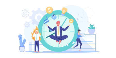 Vector cartoon flat office worker character flies in yoga pose.Happy employee does all tasks in time,controls everything in work chaos-professional workflow,time management,web site banner concept