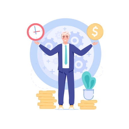 Vector cartoon flat office worker character and big clock.Successful happy employee controls everything,does all works in time-professional workflow,time management,web site banner concept