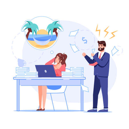 Vector cartoon flat boss manager,office worker characters at work conflict scene.Angry boss shout at bad employee,who dreams of vacation-procrastination,work productivity web site banner concept