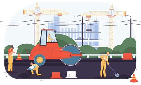 Vector cartoon flat industrial worker characters at road construction work.Engineer workers repair,building new road,lay asphalt-transport engineering,urban planning,web online site banner ad concept 向量圖像