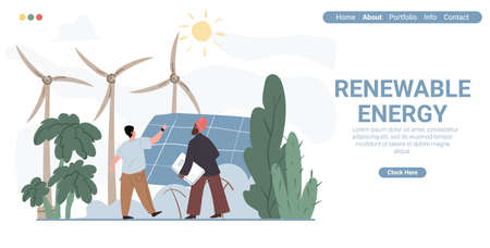 Vector cartoon flat characters-exhibitor and visitor at renewable energy expo.Exhibition worker explain,show solar panels and wind turbines to rich arabic businessmen,web online landing page template