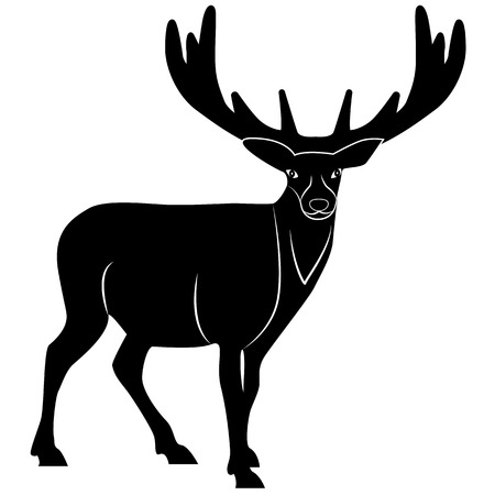Picture of a deer silhouette for retro logos, emblems, badges, labels template vintage design element. Isolated on white background