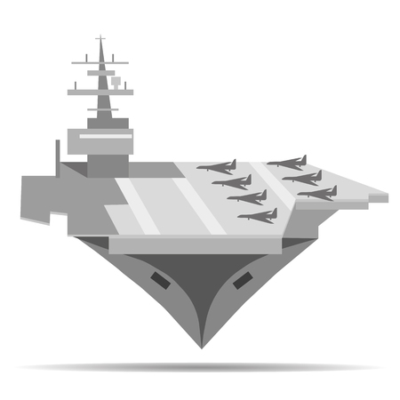 Vector plane image carrier. Isolated image of aircraft carrier ship Illustration