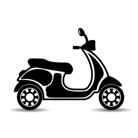Vector, isolated, monochrome, flat icon of a motor scooter Illustration