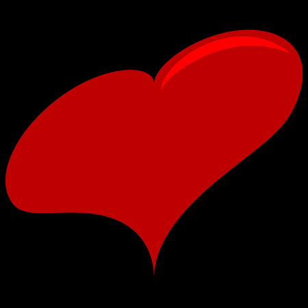 Vector image of a flat heart icon. Red heart on black isolated background.