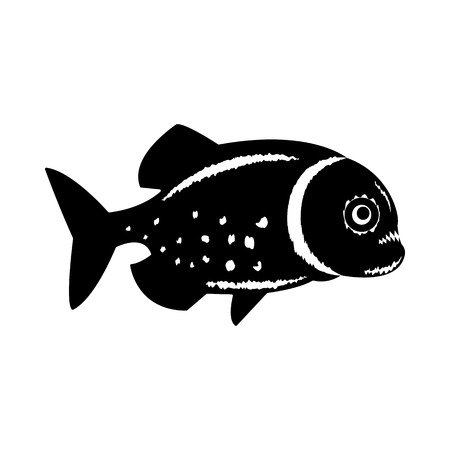 Vector, isolated, flat image of a piranha fish on a white background Ilustração