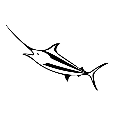 Vector, isolated, flat image of fish marlin on a white background Illustration