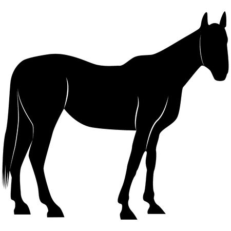 Image d'une silhouette de cheval pour les logos rétro, les emblèmes, les badges, l'élément de design vintage du modèle d'étiquettes. Isolé sur fond blanc