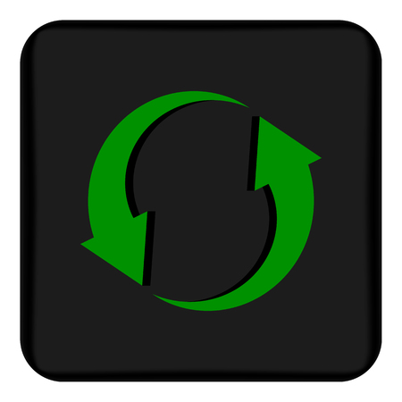 Vector image of a flat icon with arrows pointing to circular rotation. Black button with arrows indicating circular rotation
