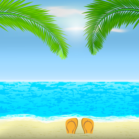 Vector image of a realistic beach with palm trees and sea on the background of the sunny sky