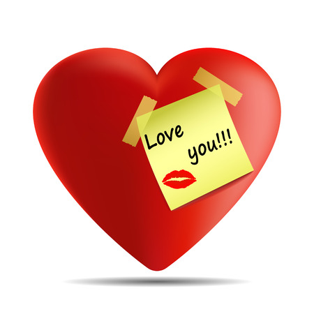 Vector image of a heart with a sticker with the inscription I love you and a lip impression from a kiss on a white background