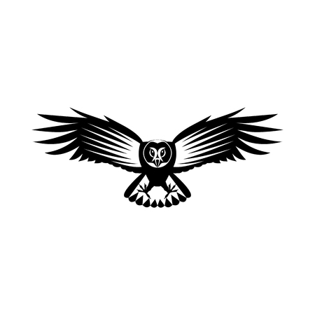 Vector, flat image of the attacking owl, in flight with open wings, black and white, on an isolated white background Banque d'images - 122127350