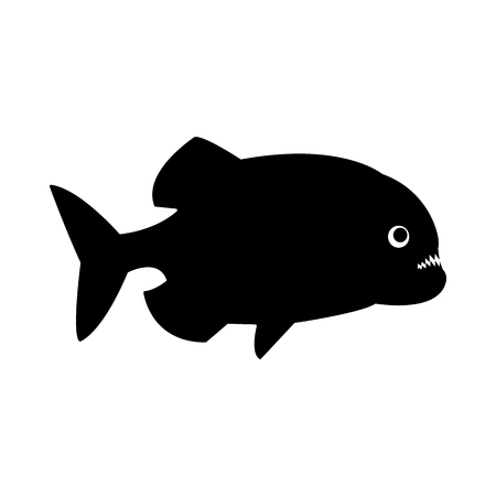 Vector, isolated, flat image of a piranha fish on a white background Vectores
