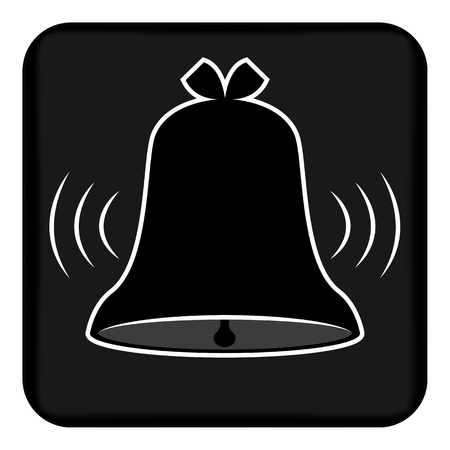 Vector image of a ringing bell. Flat call bell icon that rings. Button with a ringing bell. Çizim