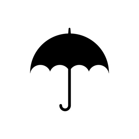 Vector image of flat, isolated, umbrella icons. Design a flat black umbrella icon Vector Illustratie