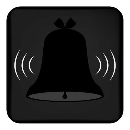 Vector image of a ringing bell. Flat call bell icon that rings. Button with a ringing bell. Vector Illustration
