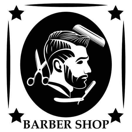 Vector design of the barbershop logo. Flat, monochrome, image of a profile of a bearded man with a delicious hairstyle. Hairdressing tools - scissors, comb and dangerous razor.