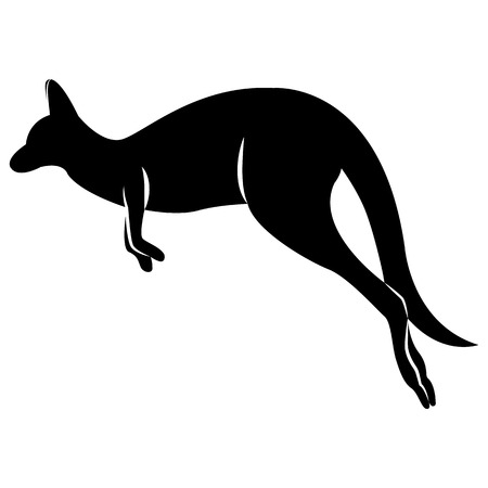 Vector image of a black kangaroo silhouette that jumps on an isolated white background Ilustração