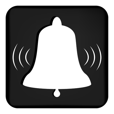 Vector image of a ringing bell. Flat call bell icon that rings. Button with a ringing bell.