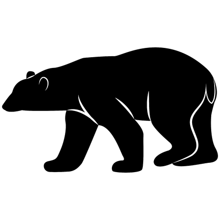 Vector image of a white bear silhouette on a white background Vettoriali