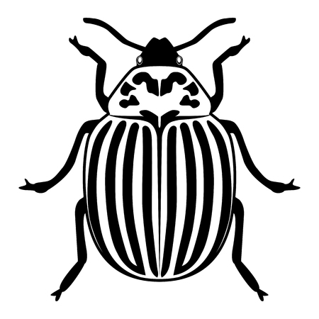 Vector image of the Colorado beetle silhouette on a white background Vector Illustration