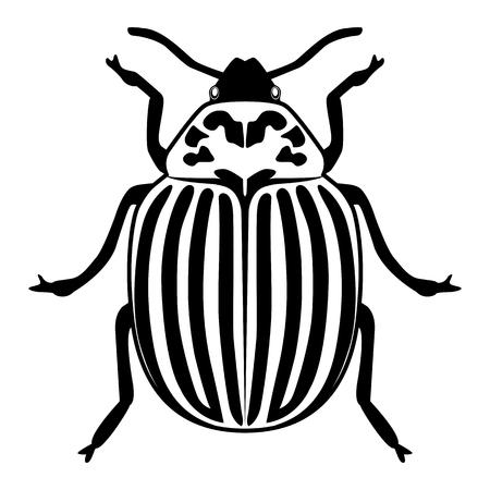 Vektorbild der Colorado-Käfer-Silhouette auf weißem Hintergrund Vektorgrafik
