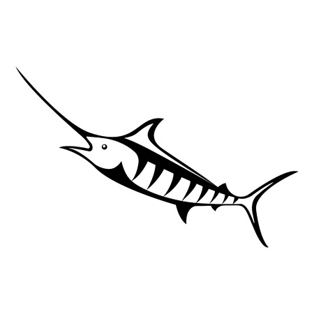 Vector, isolated, flat image of fish marlin on a white background Illusztráció