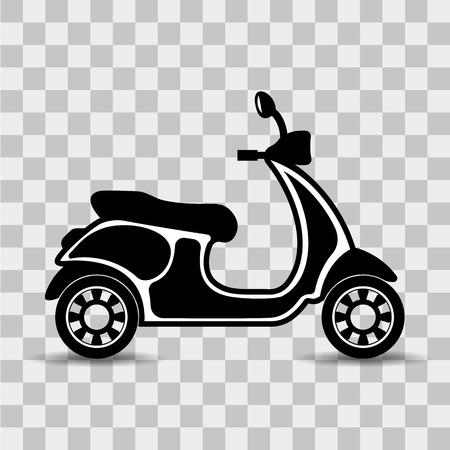 Vector, geïsoleerd, zwart-wit, plat icoon van een scooter op een transparante achtergrond. Vector Illustratie