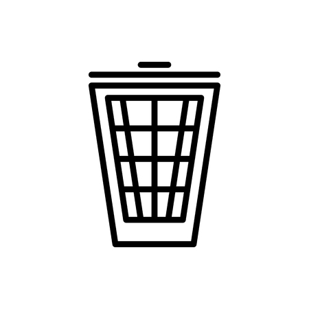 Vector image of a flat, linear trash can icon. Isolated trash can of black on white background