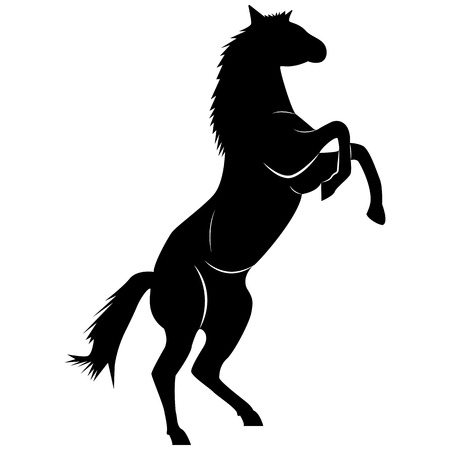 Vector image of a silhouette of a horse standing on the hind legs