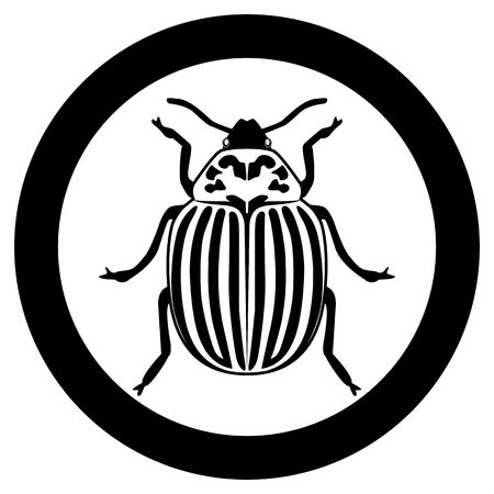 Vector de la imagen de la silueta del escarabajo de Colorado sobre un fondo blanco. Ilustración de vector