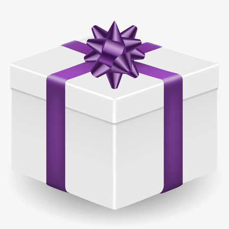 Vector image of a white, realistic, gift box with a purple ribbon and a bow, isolated on a white background Çizim