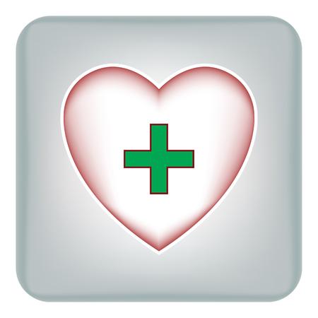 Image vectorielle des icônes du coeur avec une croix verte