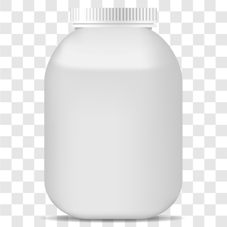 Vector image of a realistic plastic jar on a transparent background. 3d plastic pot Vettoriali