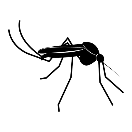 Vector image of a mosquito silhouette on a white background Stock Illustratie