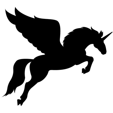 Grafika wektorowa sylwetki mitycznego stworzenia Pegaza na białym tle. Koń ze skrzydłami na tylnych łapach.