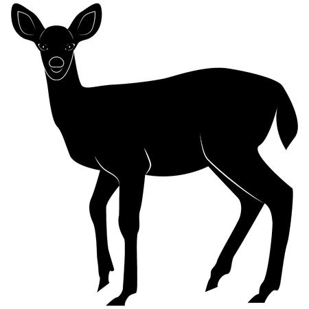 Image vectorielle d'un daim silhouette pour logos rétro, emblèmes, insignes, élément de design vintage modèle étiquettes. Isolé sur fond blanc