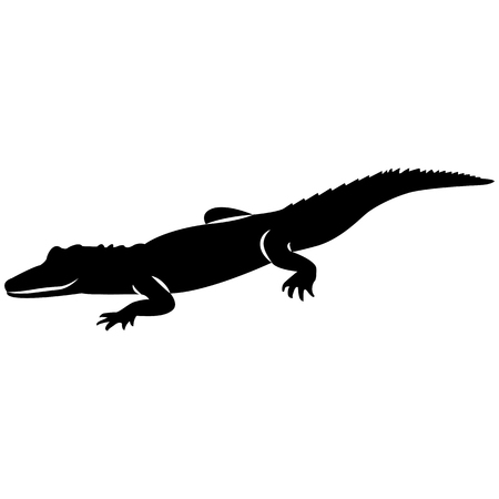 Vector image of a crocodile silhouette on a white background