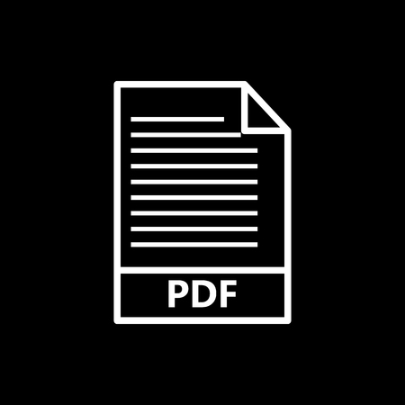 Vector image flat icon white color PDF document format, isolated on black background Illustration
