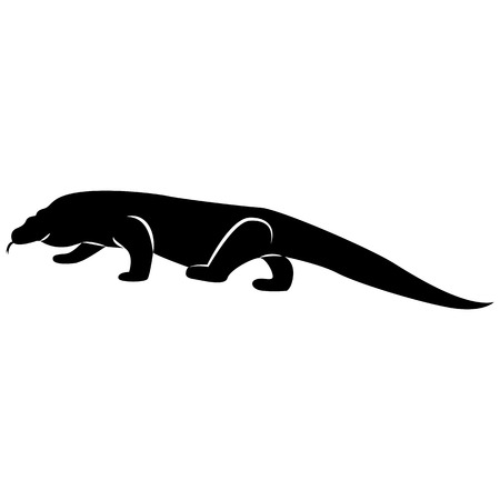 Vector image of the silhouette of the lizard of the Komodo Varanas on a white background