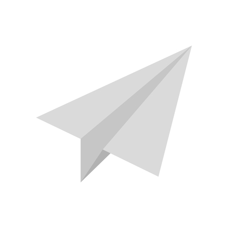 Vector image of a flat paper plane icon on an isolated white background