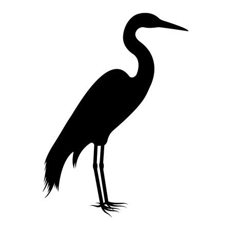 Vektorbild der Silhouette der Vögel des Reihers