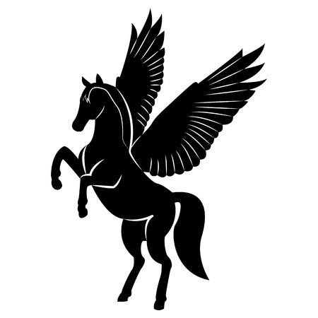 Vector image of a silhouette of a mythical creature of pegasus on a white background. Horse with wings on hind legs. Ilustracje wektorowe