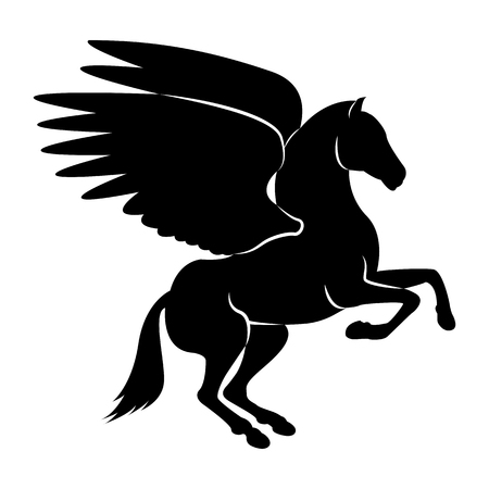 Vector image of a silhouette of a mythical creature of pegasus on a white background. Horse with wings on hind legs. Vetores
