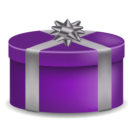 Vector image of a violet, realistic, gift box, banded band with a bow on an isolated white background.