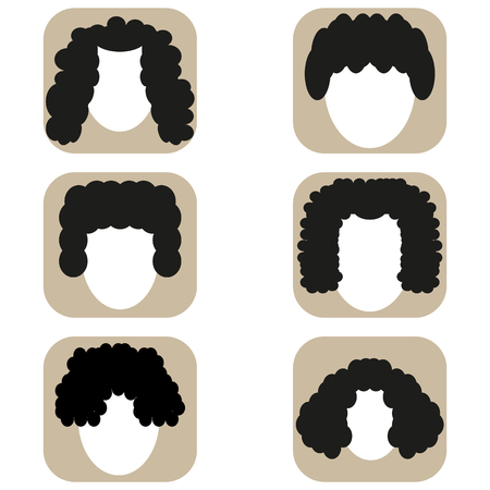 Picture of flat icons of avatars with curly hair
