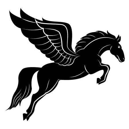 Vector image of a silhouette of a mythical creature of pegasus on a white background. Horse with wings on hind legs. 일러스트